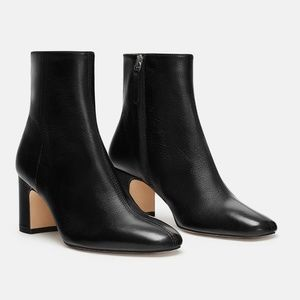 Zara Leather Heeled Ankle Boots Sz 7.5
